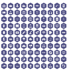 100 gadget icons hexagon purple vector