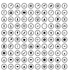 100 space icons set simple style vector image