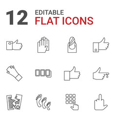 12 finger icons vector image