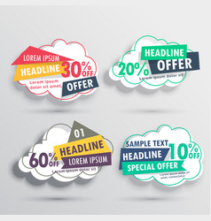 Abstract discount and offers cloud stickers vector