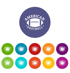 american football icons set color vector image