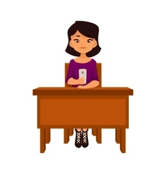 Asian school girl sitting at the desk with a vector