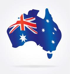 Australian flag in map australia vector