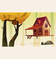 autumn landscape with wood house and yellow tree vector image