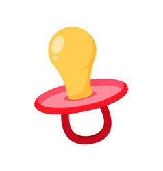 Baby pacifier icon flat vector