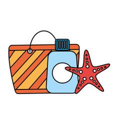 Bag sunblock and starfish beach vector