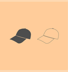 baseball cap dark grey set icon vector image