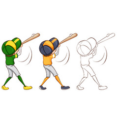 Baseball player in three different drawing styles vector