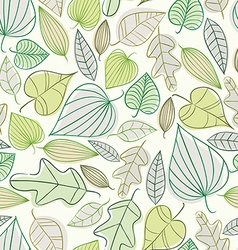 Beautiful spring leaves seamless pattern vector image