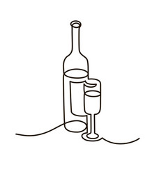 bottle and glass wine continuous black line vector image
