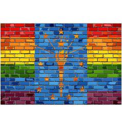 Brick wall indiana and gay flags vector