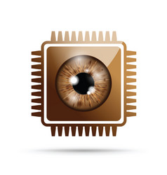 Brown realistic eyeball on a microchip vector