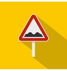 Bumpy road sign icon flat style vector