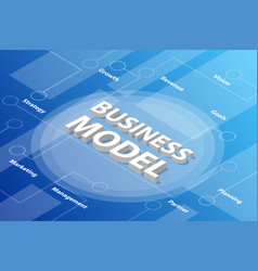 Business model isometric 3d word text concept vector