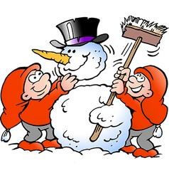 Cartoon of two happy Elf making a big Snowma vector