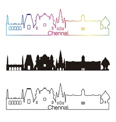 Chennai skyline linear style with rainbow vector