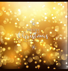 Christmas and new year background with gold bokeh vector