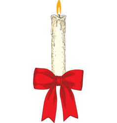 christmas candle with red vector image