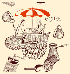 Coffee seamless pattern with cafe table coffee vector