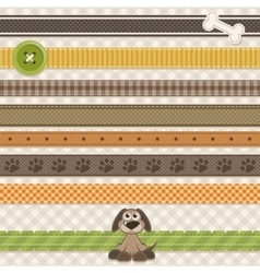 Collection of cute ribbons with cartoon dog vector