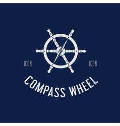 Compass Steering Wheel Symbol Icon or Logo vector image