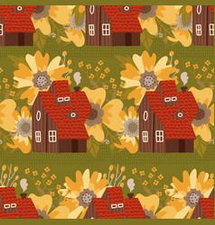 cozy small houses among big flowers seamless vector image