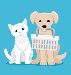 Cute cat and dog with basket vector