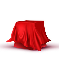 Design hidden red tablecloth square table vector