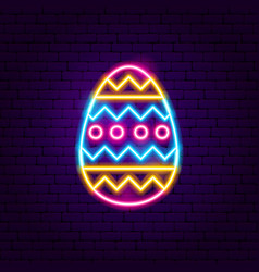 Easter ornament egg neon sign vector