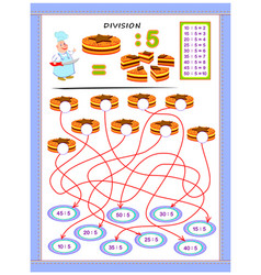 exercises for kids with division table number vector image
