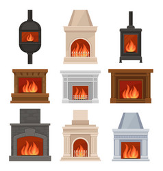 fireplaces with fire set stone and cast iron vector image