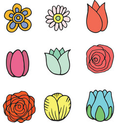 Flower isolated set collection of doodle cartoon vector