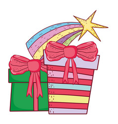 gifts boxes presents icons vector image
