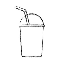 glass with straw icon vector image