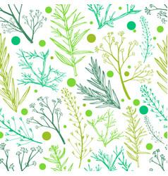 Green herbal seamless pattern vector