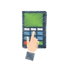 Hand draw payment credit card dataphone color vector