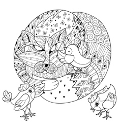 Hand drawn doodle outline fox sleeping with chiken vector image