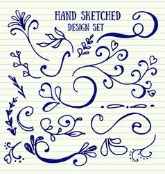 Hand drawn set of vintage elements vector image