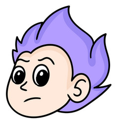 Head emoticon a purple haired man vector