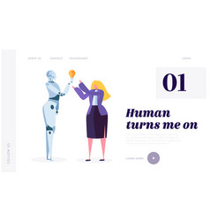 human turn on robot landing page development vector image