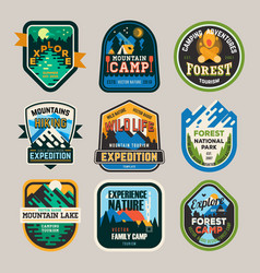 Isolated signs logo for camping club exploration vector