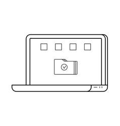 laptop line art simple gadget icon vector image