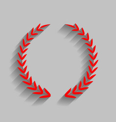 laurel wreath sign red icon with soft vector image