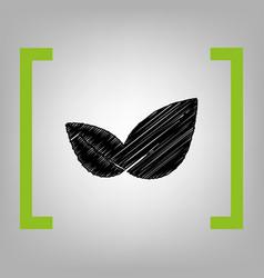 leaf sign black scribble vector image