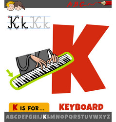 Letter k from alphabet with keyboard word vector