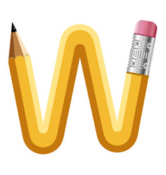 Letter w pencil icon cartoon style vector