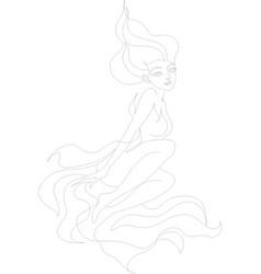 line art fire element girl vector image