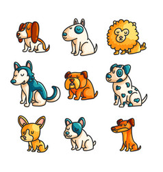 little cartoon dogs set vector image