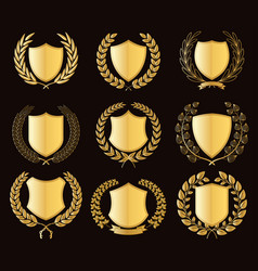 luxury golden badges laurel wreath collection vector image