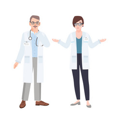 male and female physicians wearing white coats vector image